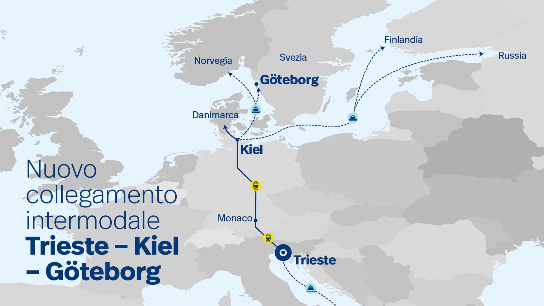 mappa nuovo treno Trieste Kiel via Monaco