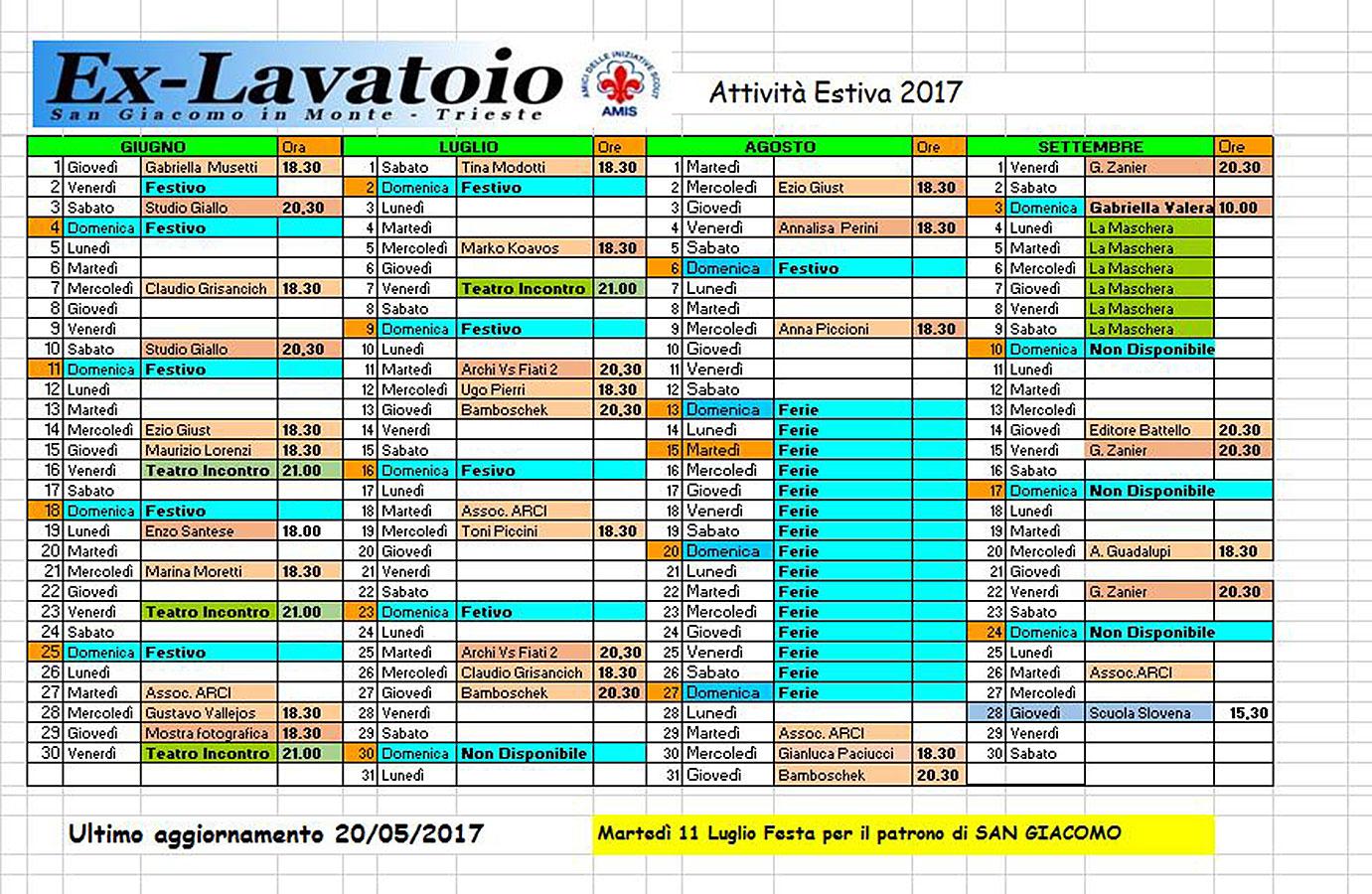 ex-Lavatoio programma estivo 2017