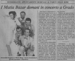 Messaggero Veneto 23 luglio 1983 Matia Bazar a Grado