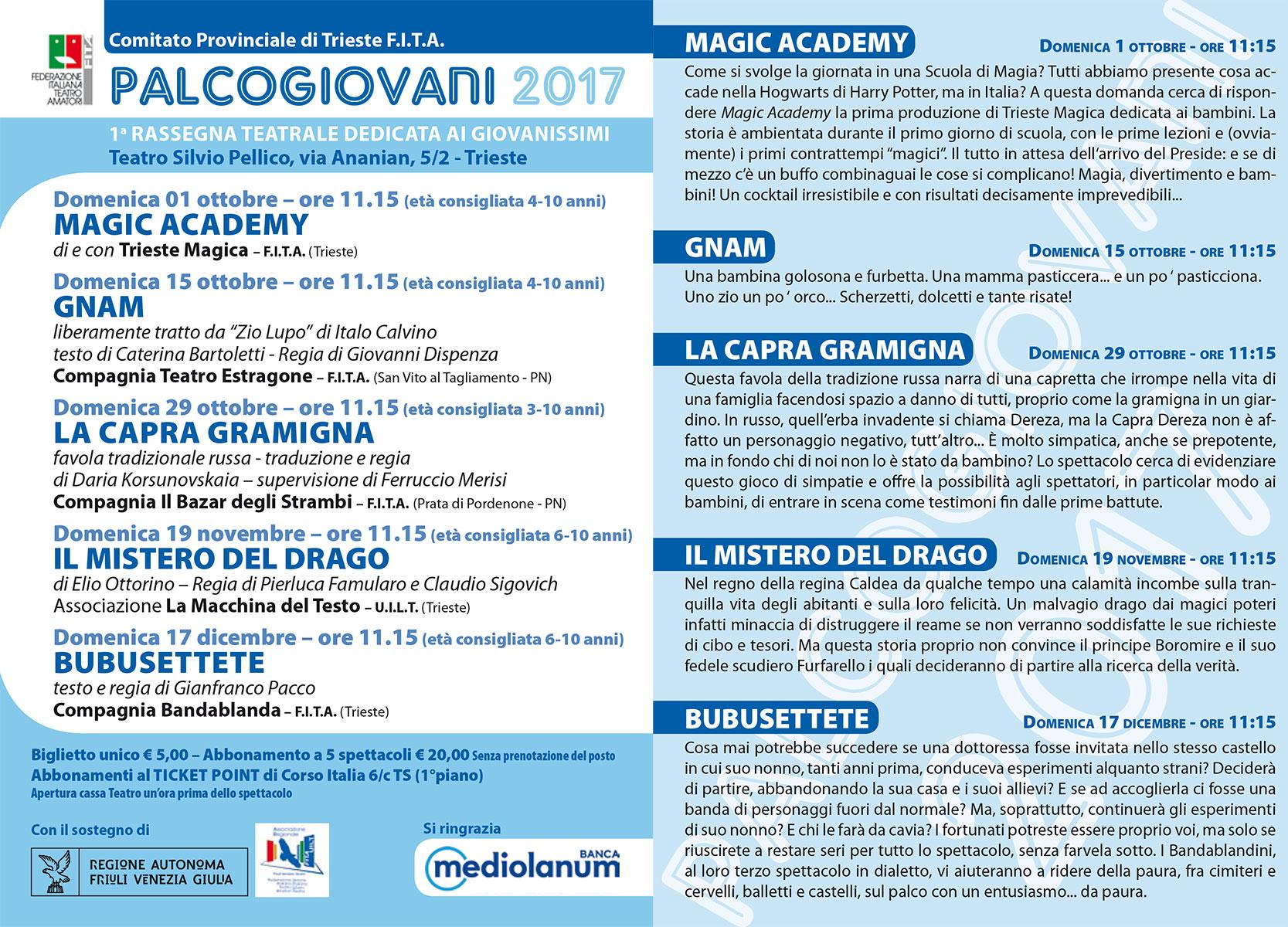Palcogiovani 2017 programma