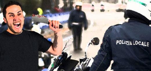 esagitato con coltello minaccia poliziotto