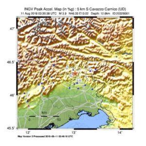 scosse terremoto Cavazzo Carnico 12 agosto 2018