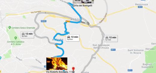 via Battigelli e Batagely incendio NUE 112