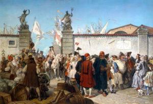 La proclamazione del porto franco di Trieste, 1885 Autore: Cesare dell'Acqua (Pirano, 22 luglio 1821 – Bruxelles, 16 febbraio 1905) - Trieste, Museo Civico Revoltella.