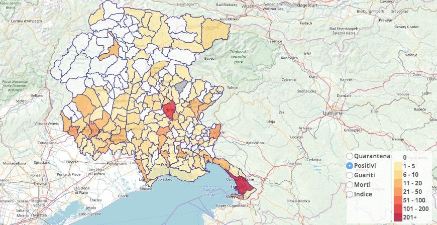 Regione Friuli Venezia Giulia Cartina.La Mappa Dei Contagi Nei Comuni Del Friuli Venezia Giulia Informatrieste