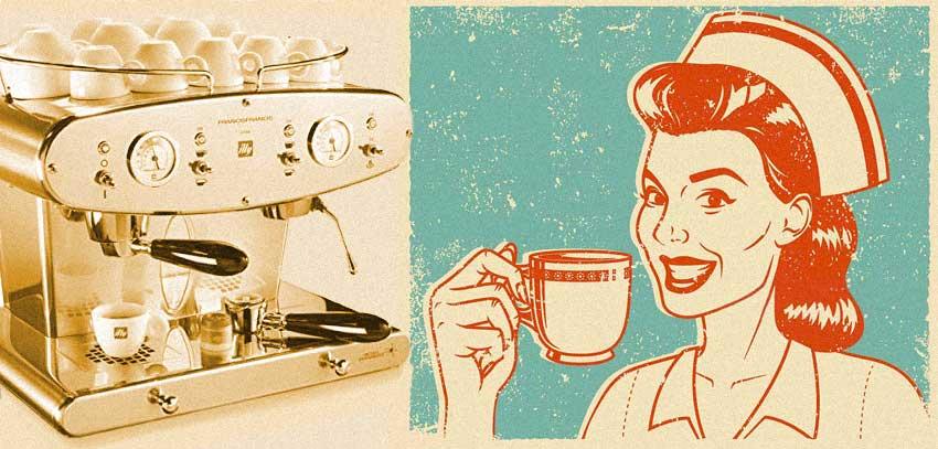 macchina caffè Illy infermiera beve