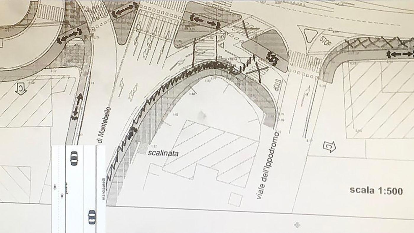 Ipotesi progettuale percorsi ciclabili e pedonali zona Fiera