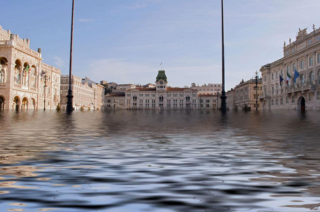 piazza Unità allagata Trieste
