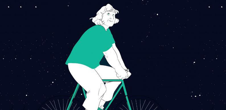 Margherita Hack in bicicletta tra le stelle