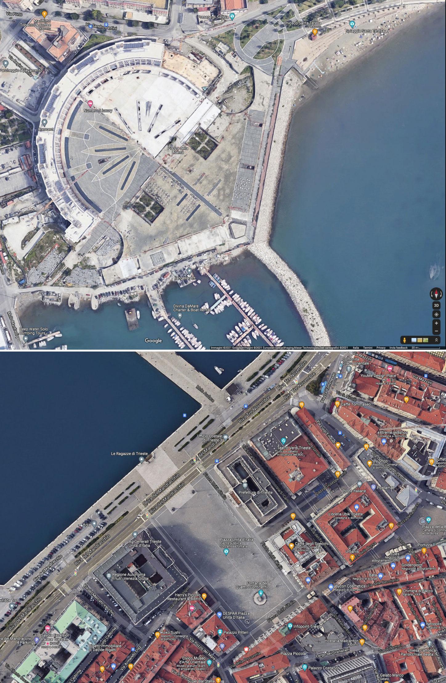 piazza Libertà Salerno e piazza Unità a Trieste