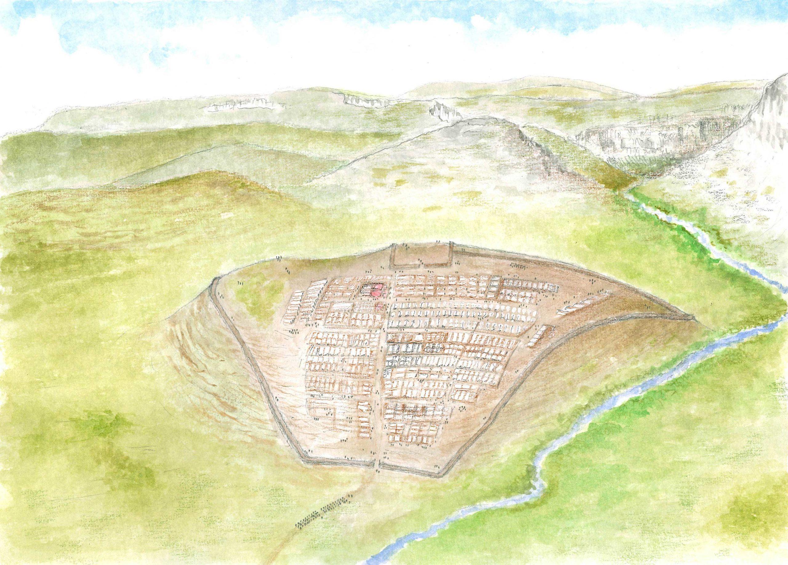 Ricostruzione accampamento di San Rocco - disegno di Guido Zanettini
