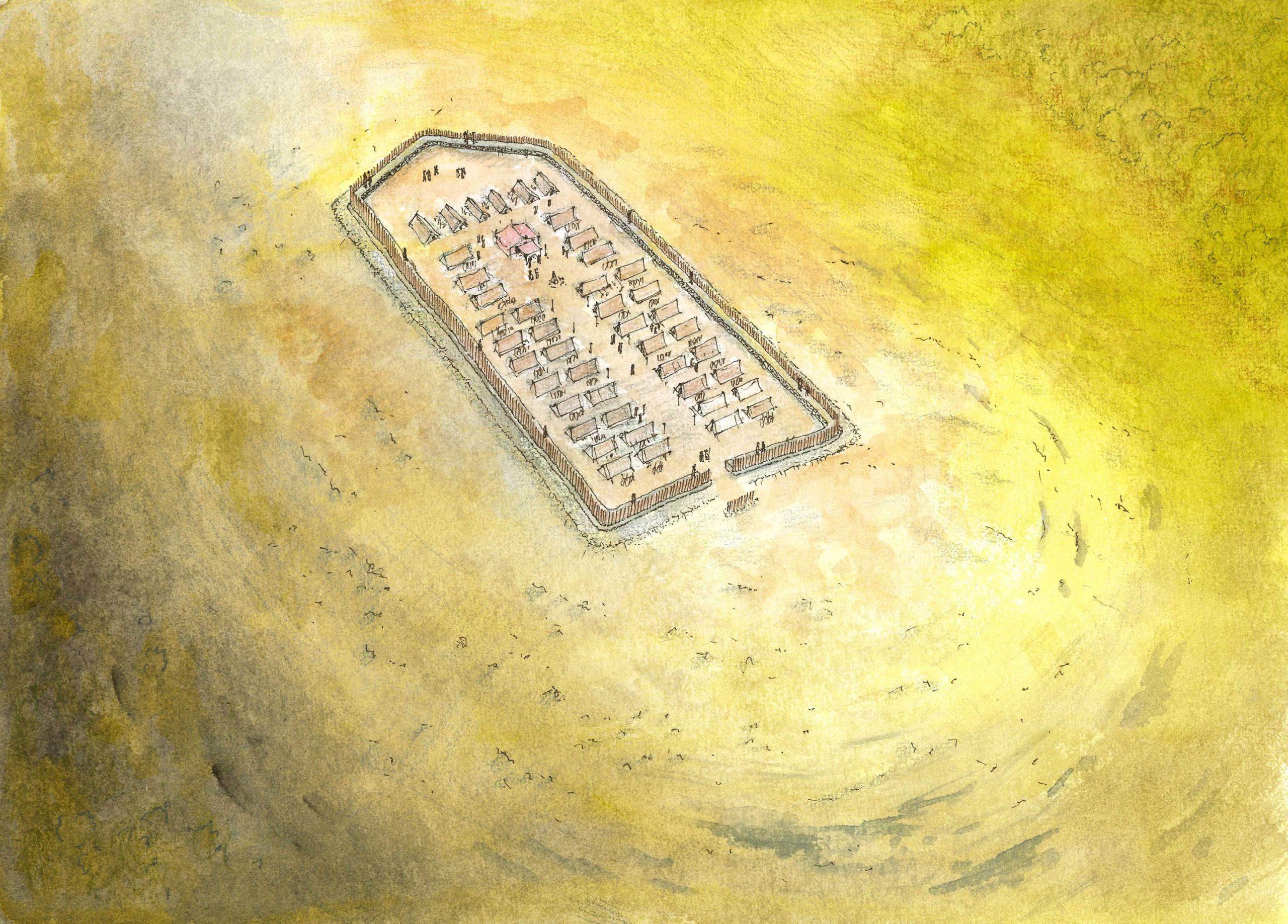 Ricostruzione campo interno Grociana - II a.C. - disegno di Guido Zanettini